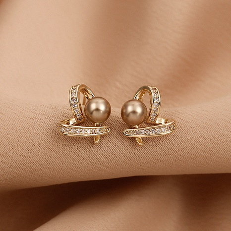 Korea small heart-shape alloy pearl earrings NHXI338862's discount tags