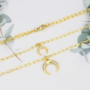 Fashion diamond horn copper goldplated double layered necklace NHBP338879
