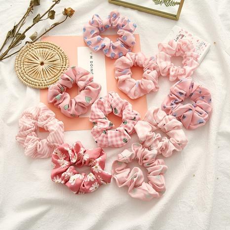 new fashion pink polka dot striped hair scrunchies  NHDM338886's discount tags