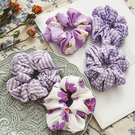 new purple simple striped floral hair scrunchies  NHDM338888's discount tags