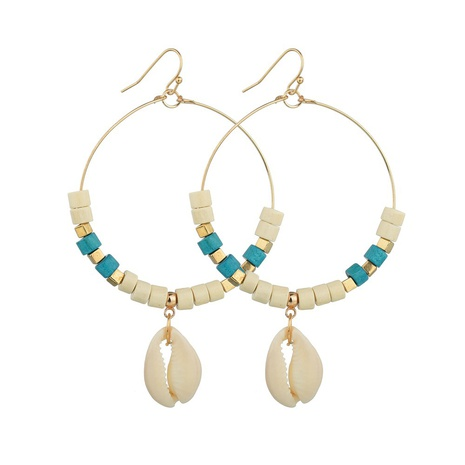 Bohemian turquoise shell earrings NHDM338894's discount tags