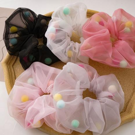 French fashion net yarn color hairy ball hair scrunchies  NHDM338895's discount tags