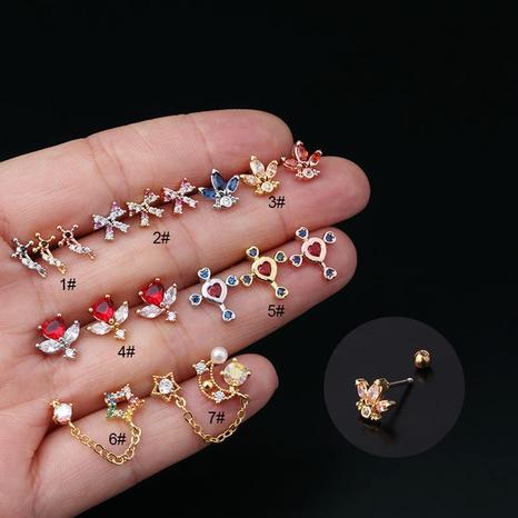 Boucles d'oreilles en zirconium couleur cuivre coréen NHEN338906's discount tags