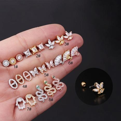 Boucles d'oreilles fantaisie en zircon de cuivre NHEN338905's discount tags