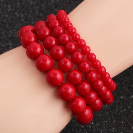 Fashion red round bead bracelet wholesale NHYL338911