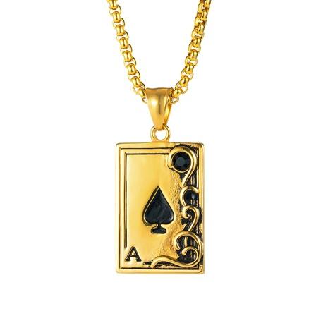 einfache Poker Ace of Spades Anhänger Edelstahl Halskette NHOP338918's discount tags