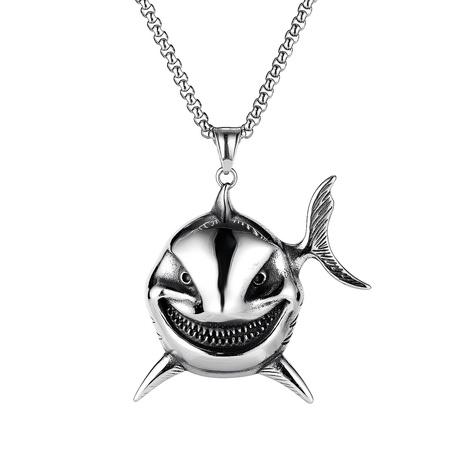 Retro Clown Fisch böse lächelnde Gesicht Edelstahl Männer Halskette NHOP338927's discount tags