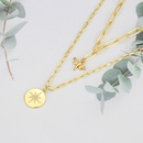 Fashion diamond eightpointed star double layered copper necklace NHBP338958