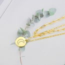 Fashion round moon tag double layer copper necklace  NHBP338957