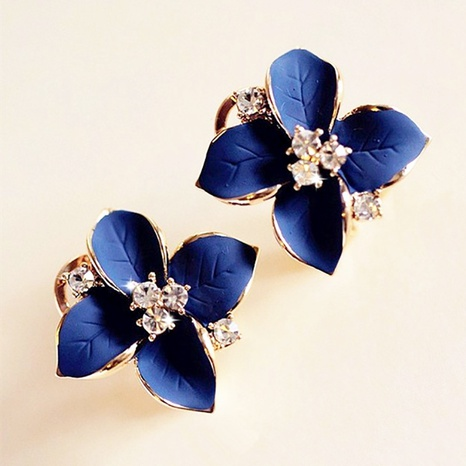 Korean camellia flower rhinestone earrings wholesale NHBI338977's discount tags