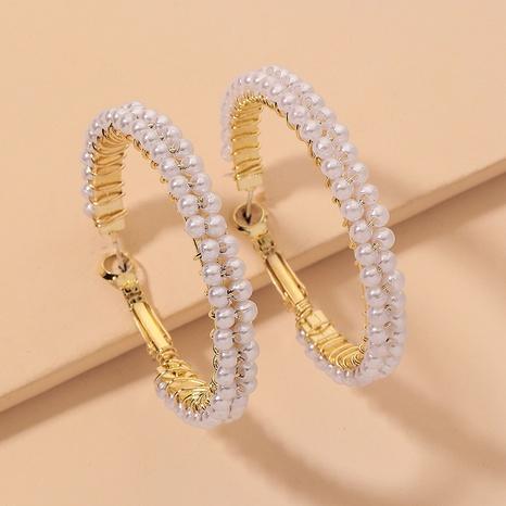 fashion pearl geometric circle earrings NHNJ338988's discount tags