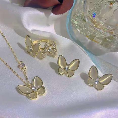 einfache opal schmetterling halskette ohrringe ring set NHOT339101's discount tags