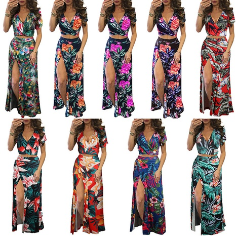 Summer new digital print V-neck sexy two-piece suit NHWA339513's discount tags