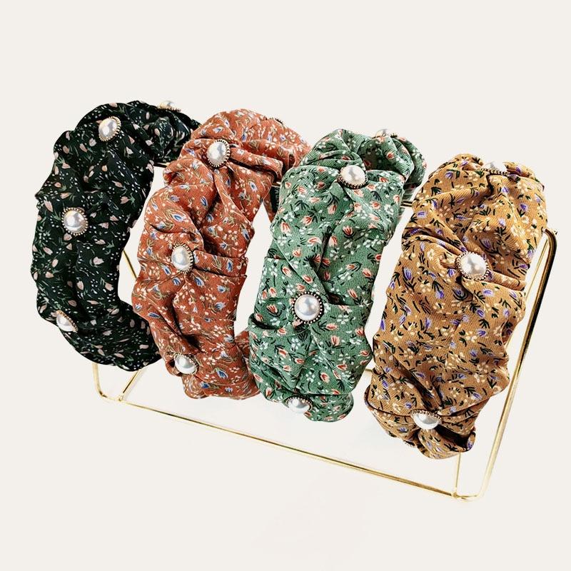 Korean floral widebrimmed pearl bud headband NHUX339065