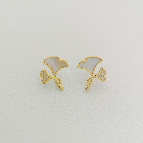 Korea leaf rhinestone alloy earrings NHXI338880's discount tags