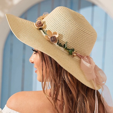 Fashion garland big eaves sunscreen straw hats NHTQ339156's discount tags