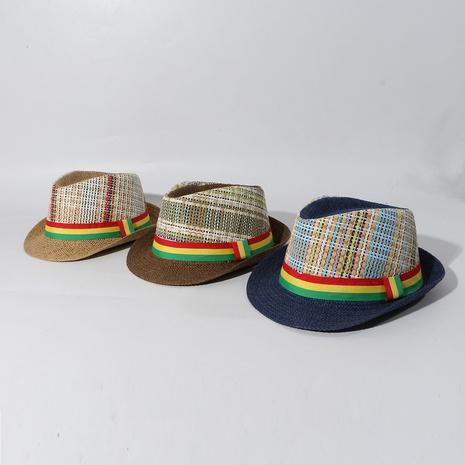 fashion plaid children straw hat  NHAMD339170's discount tags