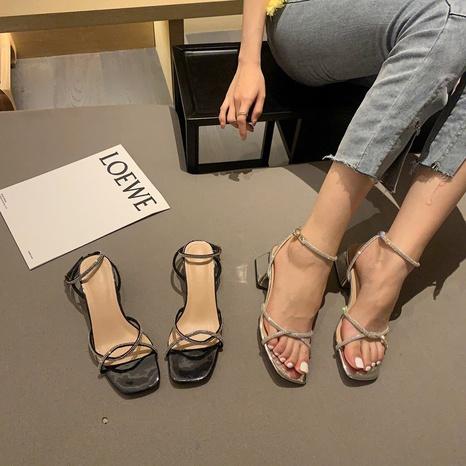 Nouvelle mode coréenne sandales à talons épais strass NHHU339410's discount tags