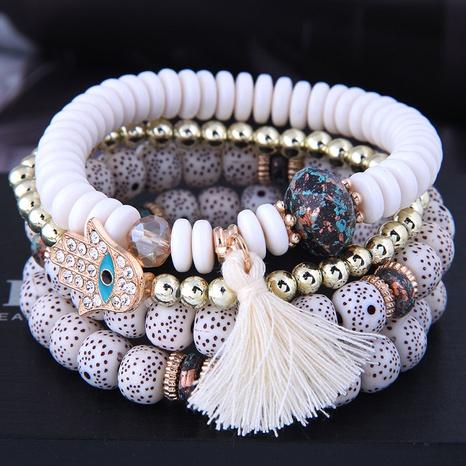 simple diamond palm bead multi-layer bracelet NHSC339627's discount tags