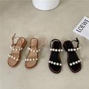 summer new pearl thick heel open toe word Roman shoes NHHU339454