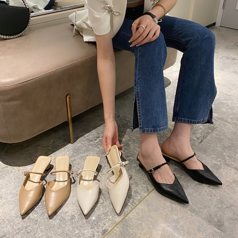 fashion pointed toe mid-heel sandals  NHHU339484's discount tags