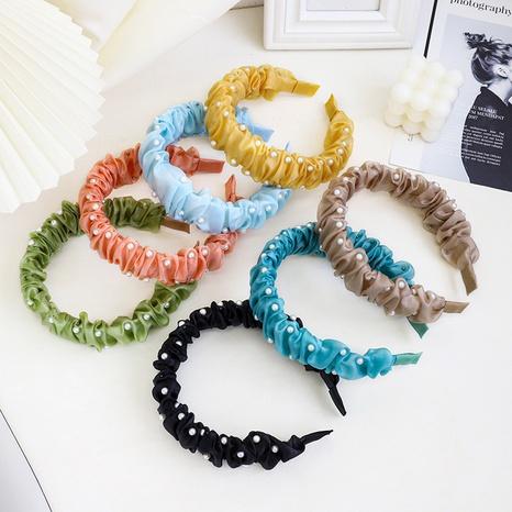 Fashion solid color bright silk cloth nail pearl headband hairpin  NHQC340140's discount tags