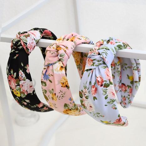 Fashion printing fabric wide brim headband knotted hair band NHQC340138's discount tags