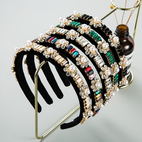 retro flower pearl headband NHLN339533's discount tags