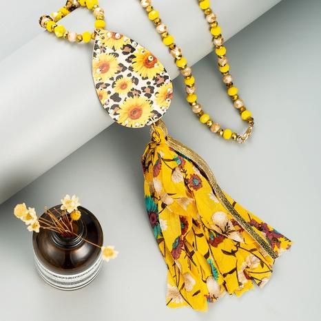 bohemian leather tassel sun flower sweater chain NHLN339531's discount tags