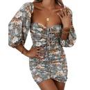 summer new tube top sleeves printed tight dress NHIS339529