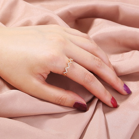 new fashion micro-inlaid golden wave copper open ring  NHAN339575's discount tags