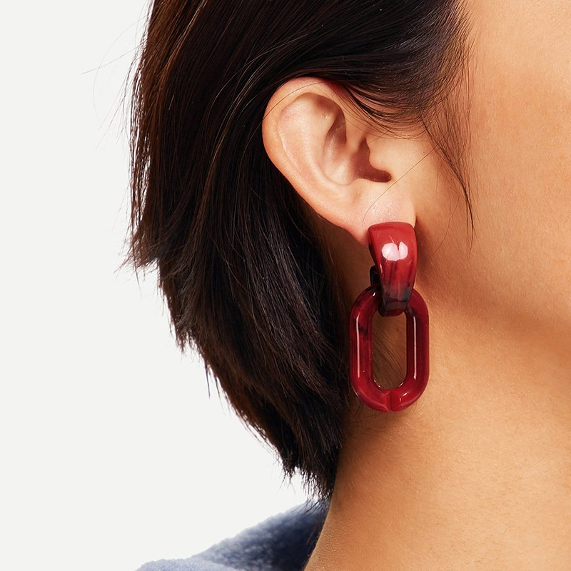 retro contrast color geometric earrings  NHRN339607