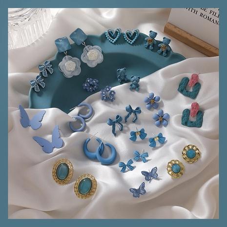 Fashion blue flowers pearl earrings NHMS339619's discount tags