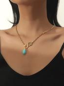 fashion turquoise pendant necklace  NHBD339640