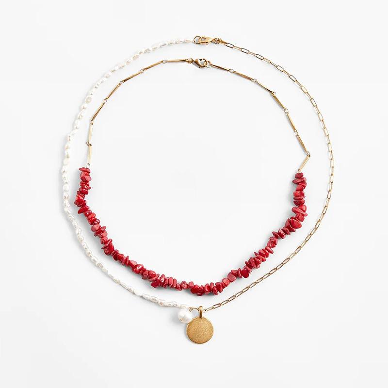 fashion natural gravel multilayer necklace NHLA339656