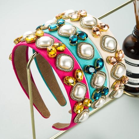 Baroque pearl rhinestone headband NHLN339663's discount tags