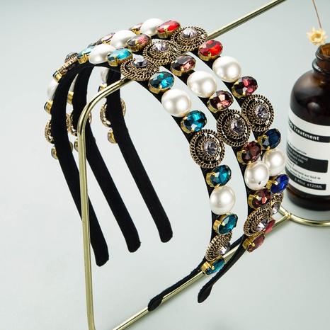 Korea geometric pearl rhinestone alloy headband NHLN339666's discount tags
