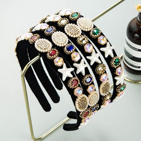 Baroque geometric pearl rhinestone cloth headband NHLN339665's discount tags