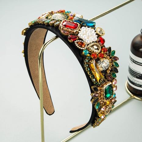 Baroque geometric pearl rhinestone cloth headband NHLN339671's discount tags
