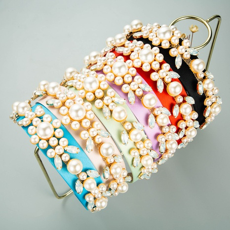 Baroque leaf flower shape pearl headband NHLN339673's discount tags
