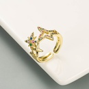 fashion copper microinlaid color zircon open ring NHLN339677