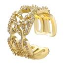 fashion copper microinlaid rhinestone geometric ring NHJE339682
