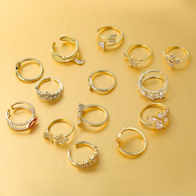fashion rhinestone flower crown ring  NHJE339685