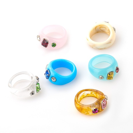 Fashion acrylic diamond resin ring NHJE339692's discount tags