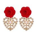 Fashion geometric heartshaped inlaid rhinestone flower earrings NHJJ339706