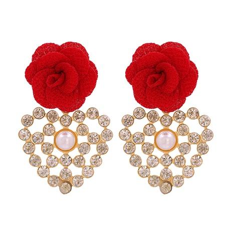 Fashion geometric heart-shaped inlaid rhinestone flower earrings NHJJ339706's discount tags