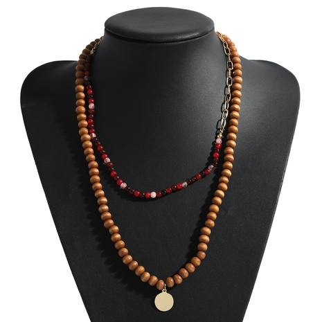 Fashion wooden bead alloy pendant necklace NHJQ339709's discount tags