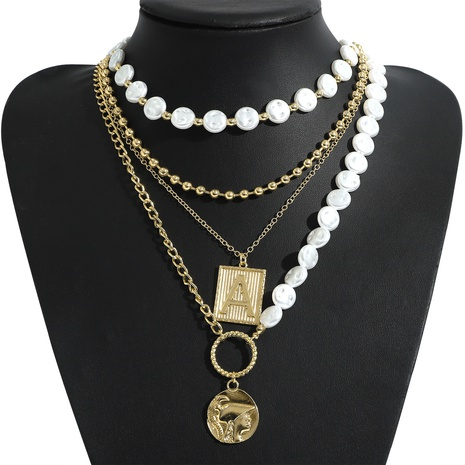 retro mix square pendant pearl necklace  NHJQ339711's discount tags