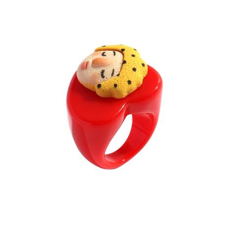 anillo de resina de color de retrato de dibujos animados NHJQ339719's discount tags