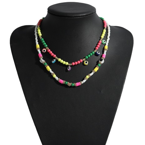 ethnic round bead eye pendant necklace NHJQ339721's discount tags